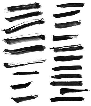 Collection of Chinese ink calligraphy brush, isolated on white. photo