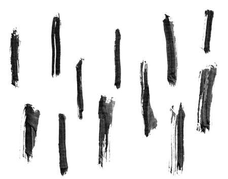chinese brush: Collection of Chinese ink calligraphy brush, isolated on white. Stock Photo