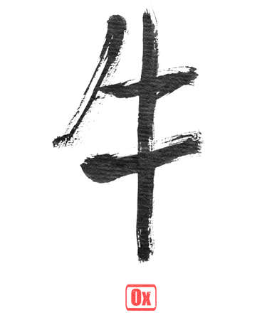 chinese calligraphy: Chinese calligraphy, ox, isolated on white background. Stock Photo