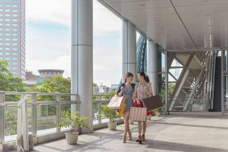 asian shopper: Asian women shopping and walking in the city.