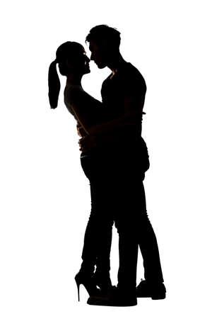 Silhouette of Asian couple hug, full length portrait isolated on white.