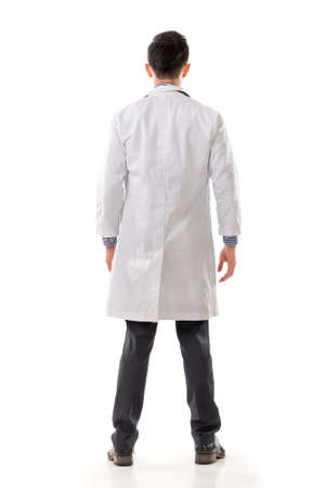 Rear view of Asian medical doctor, full length portrait isolated on white background.