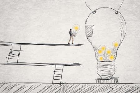 Put small ideas into big one, concept of idea, creation, hard work etc. photo