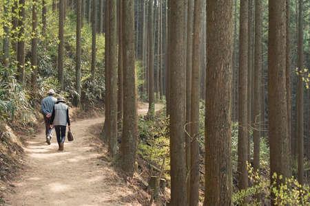 YOSHINO, JAPAN - April 17th : old couple walking at the forest of Yoshino Mountain path, Yoshino, Nara, Japan on April 17th, 2014.