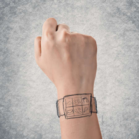 Wearable device concept of digital watch, hand drawing. photo