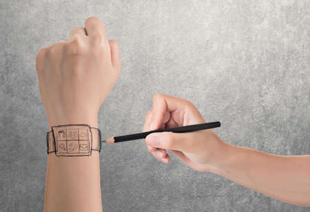 wearable: Wearable device concept of digital watch, hand drawing.