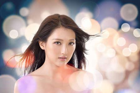Cara de la belleza asiática, retrato de glamour con una elegante dama. Foto de archivo - 30643682