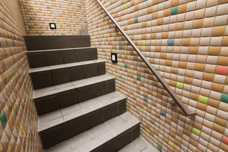 tillable: Mosaic texture wall with stairs.