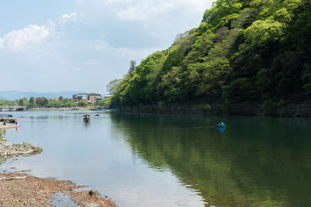 aisa: KYOTO, JAPAN - APRIL 26th  : Boats in Hozu(Katsuragawa) River in Arashiyama in Kyoto, Japan on 26th April 2014. Editorial