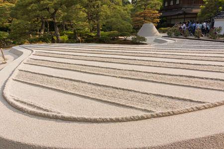 karesansui: With white sand landscape in Karesansui of Japanese garden  in Ginkakuji Temple, Kyoto.