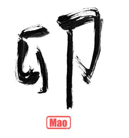 terrena: Cinese parole di scrittura calligrafia di dodici rami terrestri, isolato su bianco.
