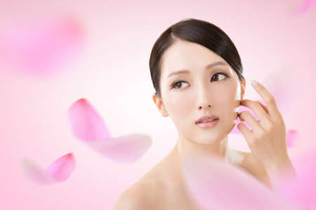 Asian beauty face closeup portrait with clean and fresh elegant lady. photo
