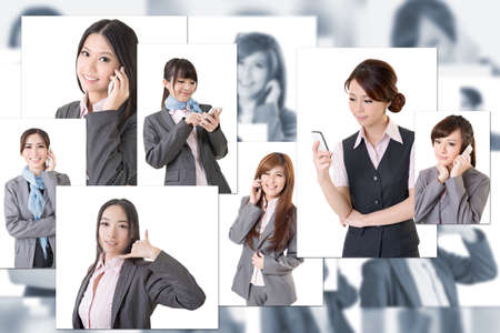 group picture: Business people wall with women talk on phone Stock Photo