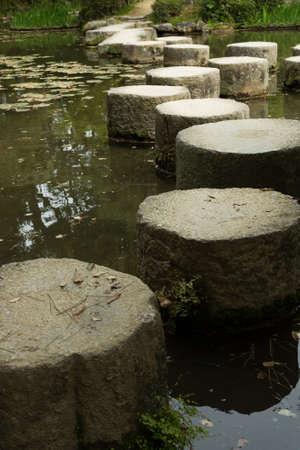 meditaion: Zen stone path in a Japanese garden near Heian Shrine Stock Photo
