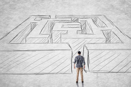Asian man stand in front of a maze. Photo compilation with hand drawn background. photo