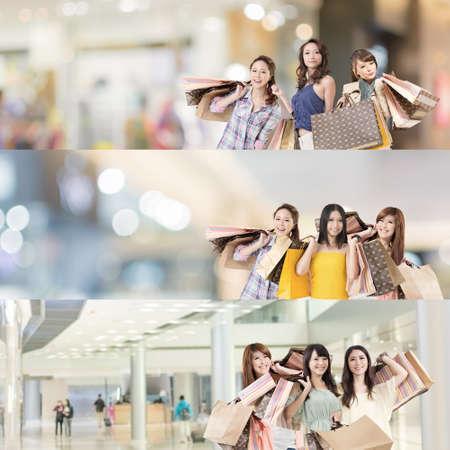아시아 여자 쇼핑, 7 다른 사람들로부터, 웹 광고 또는 모음에 대 한 좋은 컬렉션입니다. 스톡 콘텐츠