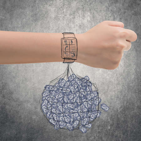 spent: Smart watch concept of energy waste.