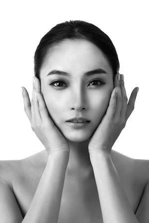 Asian beauty face, concept of glamour, makeup, healthcare etc.