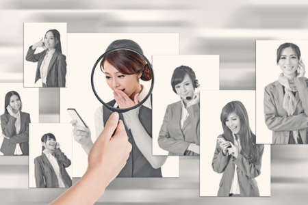 Concept of human resources, choose the right person from the people screen wall. photo