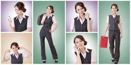 Asian business woman collection with colorful background. photo