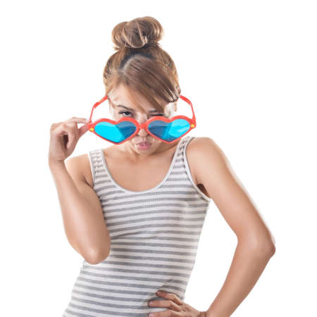 funny glasses: Attractive Asian woman with funny glasses, closeup portrait. Stock Photo