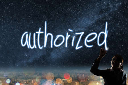 authorized: Concept of authorized, silhouette asian business woman light drawing.