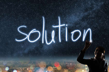energy management: Concept of solution, silhouette asian business woman light drawing.