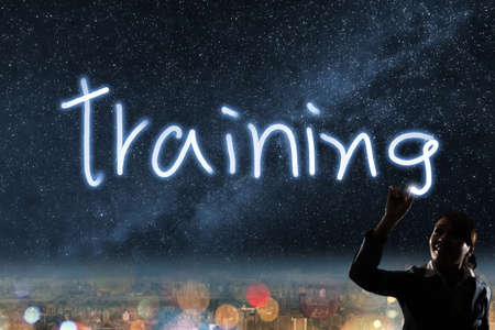 Concept of training, silhouette asian business woman light drawing. photo