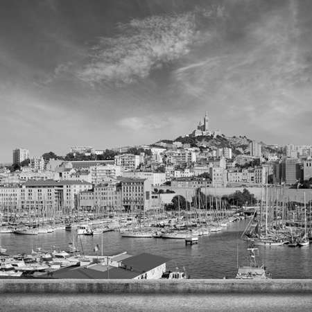 garde: Marseille cityscape with famous landmark Notre Dame de la Garde church, France.
