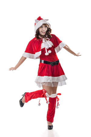sexy elf: Attractive Christmas lady of Asian woman, full length portrait. Stock Photo