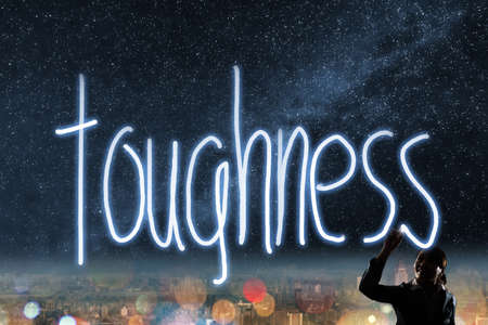 toughness: Concept of toughness, silhouette asian business woman light drawing.