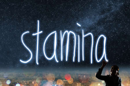 stamina: Concept of stamina, silhouette asian business woman light drawing.