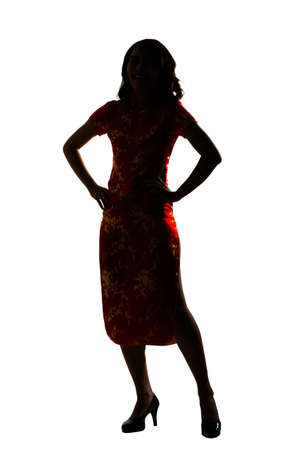 qipao: Silhouette of Chinese woman dress traditional cheongsam at New Year, studio shot isolated on white background.
