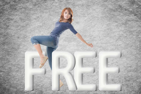 3d model: Concept of free with a human with text.