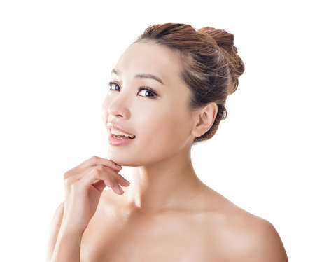 beauty model: Asian beauty face closeup portrait with clean and fresh elegant lady.