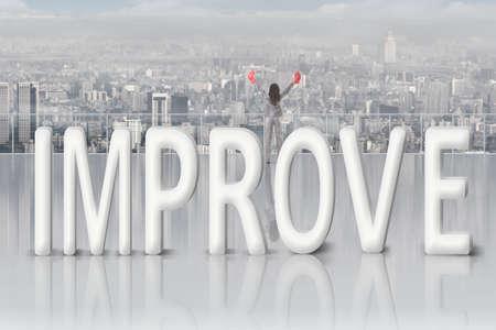 concept images: Lotta per migliorare, il concetto di immagini con testo 3D e donna d'affari asiatico sotto il cielo.