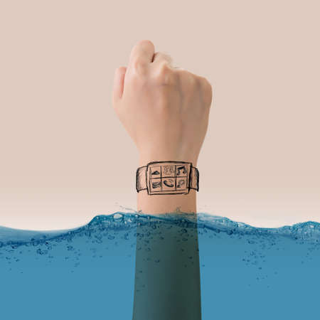 time out: Smart watch concept of waterproof, growth, new, come out etc.