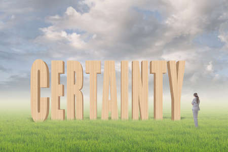 certainty: Concept of credit, reliance, promise etc with 3d text under sky on the outdoor grassland and one Asian business woman thinking about it.