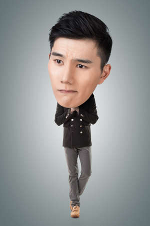 considering: Funny Asian big head man, full length portrait.