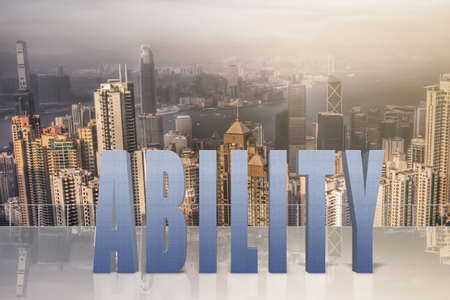 potentiality: Concept of talent, ability, capacity etc with 3d text under sky in the modern city.