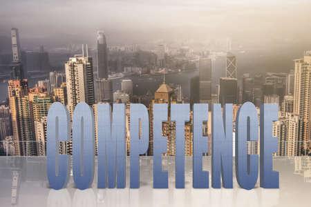 potentiality: Concepto de talento, habilidad, capacidad, etc con el texto 3d bajo el cielo de la ciudad moderna. Foto de archivo