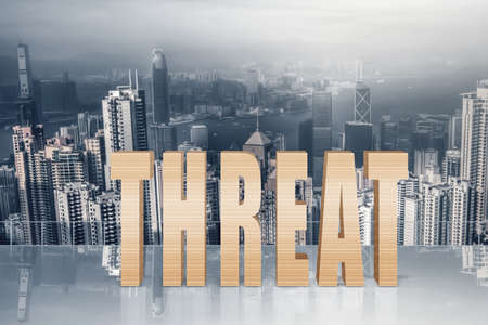 preocupacion: Concepto de riesgo, peligro, caída, etc con el texto 3d bajo el cielo en la ciudad moderna. Foto de archivo