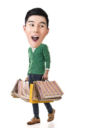 full length portrait: Funny shopping Asian guy, full length portrait. Stock Photo