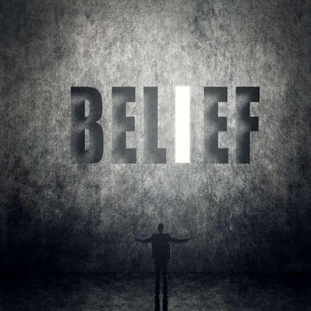 信頼、信念、クレジットなど、人間の概念は、本文の壁に立っています。