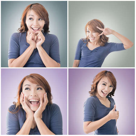 kink: Smiling Asian woman give you a thumb up gesture. Stock Photo