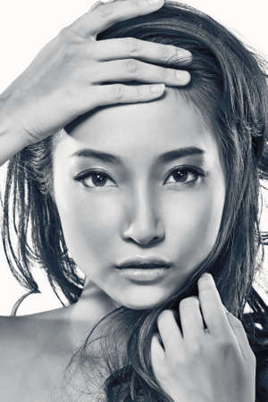 Asian beauty face, concept of glamour, makeup, healthcare etc. photo