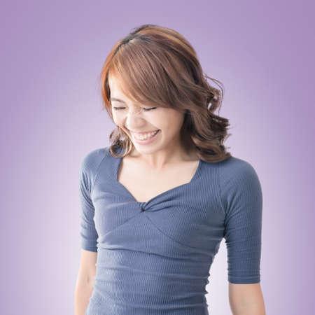 kink: Shy Asian girl smiling, closeup portrait.