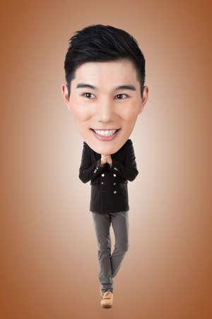 Funny Asian big head man, full length portrait. photo