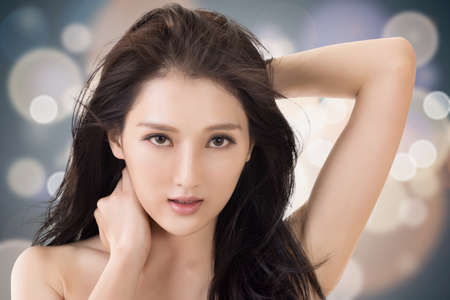 korean fashion: Asian beauty face, concept of glamour, makeup, healthcare etc.