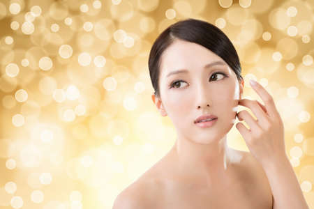 east asian: Asian beauty face closeup portrait with clean and fresh elegant lady.